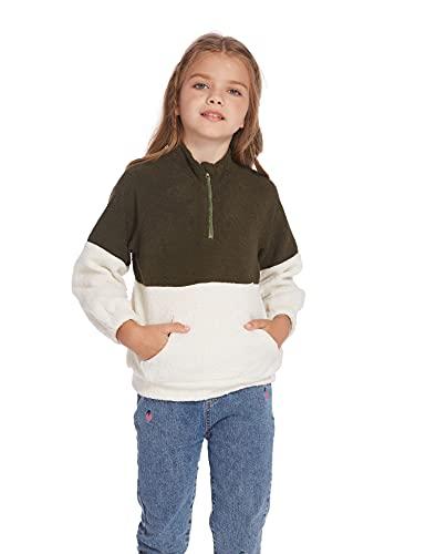 Arshiner Maglione da bambina con scollo rotondo con chiusura lampo Velvet doppio colore invernale Raglan, Verde militare., 110 cm