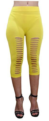 Lc010 - geel - legging gescheurde legging - driekwart - 3/4 - elastische shorts - lente - zomer - one size
