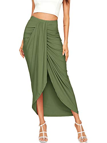 SheIn Women's Casual Slit Wrap Asymmetrical Elastic High Waist Maxi Draped Skirt Light Green Medium