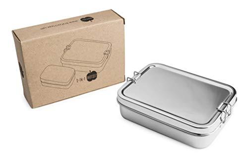 Brotzeit Lunchbox - mehrteilige Brotdose aus Edelstahl - 100% BPA frei (2 in 1)