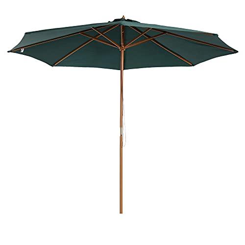 homcom Outsunny Ombrellone da Giardino Φ300 x 250Acm con Apertura a Corda, 8 Stecche e Palo in Legno, Verde Scuro