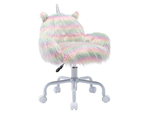 Chairus Kids Desk Chair Colorful Rainbow Swivel Rolling Student Task Chair Adjustable Animal Fur Vanity Armchair with Small Ears White Foot for Children Study