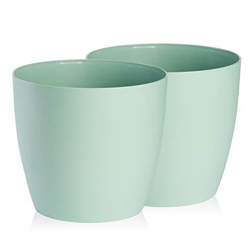 TYMAR Confezione da 2 vasi per piante in plastica, moderni, opachi, forma rotonda (menta, ø 16 cm)