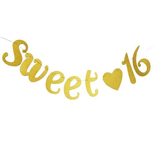 Banner de fiesta Glitter Sweet 16 Garland Decoración para colgar en la pared para el 16 ° cumpleaños Suministros de fiesta de aniversario de boda Favores de oro
