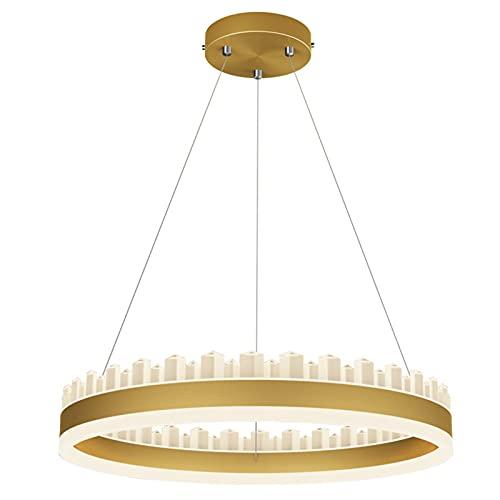 SHUHAO LED Deckenleuchte Gold Licht Luxus Kronleuchter Moderne minimalistische Atmosphäre Netto Rot Beleuchtung Kreatives Schlafzimmer Nordische Tabelle Restaurantlampe Dreifarbige Dimmen