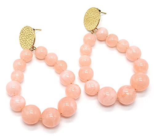 BO1999 – Pendientes con medalla martillada de acero dorado y gota con piedras rosas