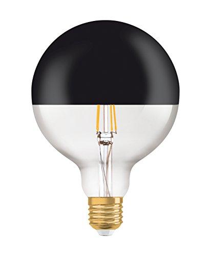 Osram Vintage 1906 Led Bombilla LED Globo con Cúpula Negra, 680 Lumen, 15.000 Horas E27 2700 K 7W - 52W, Blanco, 178 x 125mm
