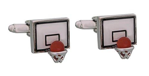 Unbekannt Basketball Manschettenknöpfe Korb + Ball rot schwarz cremeweiss silbern Plus Geschenkbox