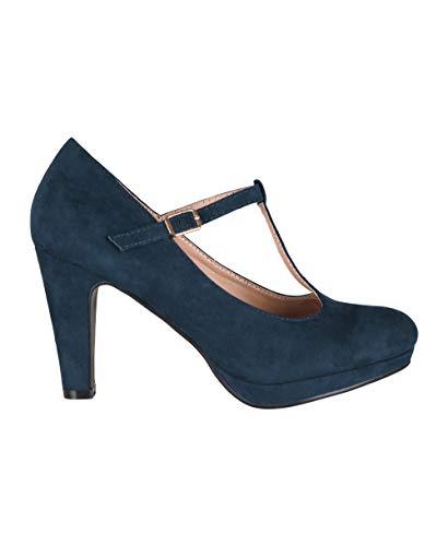 KRISP Zapatos Tacón Ancho Mujer Oferta Fiesta Salón Elegante Boda Básicos Plataforma Calzado Cómodo