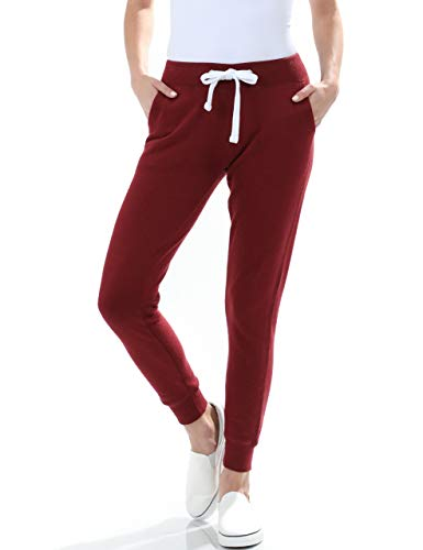esstive Women's Ultra Soft Fleece Basic Midweight Casual Solid Jogger Pants, Burgundy, Large