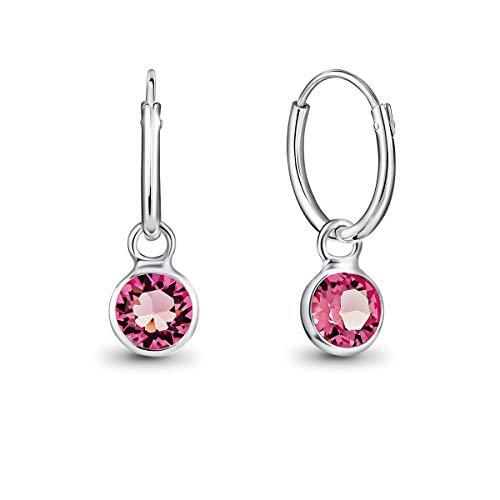 DTPsilver Pendientes de Aro Pequeños con colgante de Cristal Swarovski Elements Forma Redonda - Plata de Ley 925 - Espesor 1.2 mm - Diámetro 12 mm - Color: Rosa