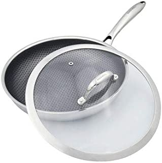 11-Inch Fry Pan Tri-Ply Stainless Steel Non Stick FDA Approved With Tempered Glass Lid