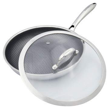 Non-stick Frying Pan (11 Inches) - Open Fry Pan Skillet with Tempered Glass Lid - Tri-Ply Stainless Steel Saute Omelet Pan for Gas, Electric & Induction - Dishwasher Safe