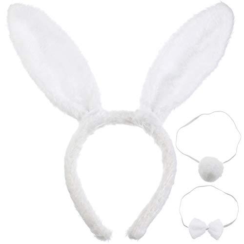 Conjunto de Disfraces de Animales Diadema de Orejas de Conejo Conejito Cola de Conejo Corbata de Conejo para Niños Adultos Fiesta de Pascua o Decoración de Disfraces