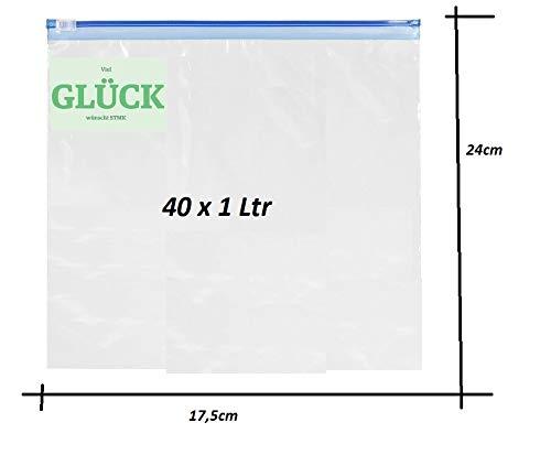 STMK 40 vrieszakken met ritssluiting, 1 liter, gratis geluk sticker