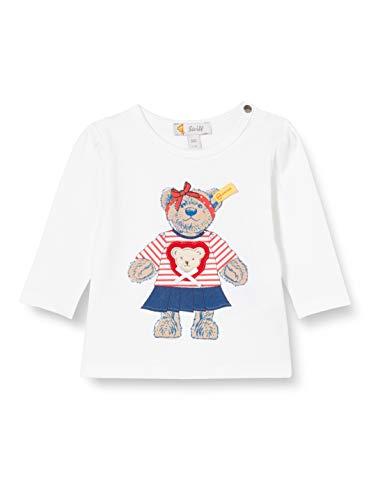 Steiff Baby-Mädchen mit süßer Teddybärapplikation T-Shirt Langarm, Weiß (Bright White 1000), 080