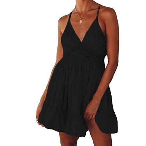Women's Dress, Women Sexy Sling Backless Lace Skirt Solid Hollow Sleeveless Fashion Dress Black M