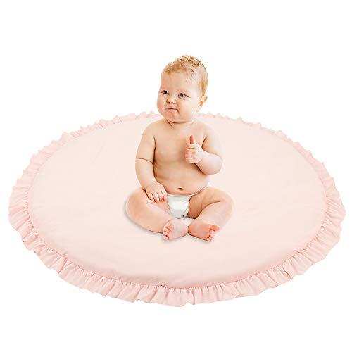 Tappeti da Gioco per Bambini in Cotone Rimovibile Tappeti Rotondi per Bambini, Tappeto da Arrampicata Tappetino per Bambini Camera da Letto Bambino Diametro 100 cm (Rosa)