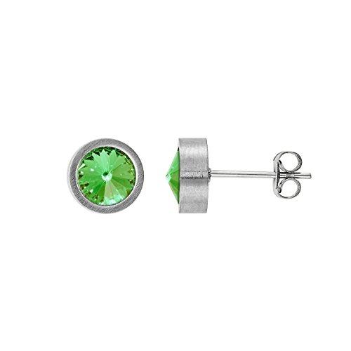 Heideman Ohrringe Damen Coma aus Edelstahl silber farbend matt Ohrstecker für Frauen mit Stein Kristall peridot grün im Fantasie Edelsteinschliff 6mm