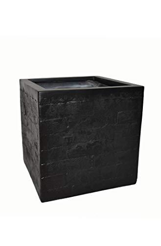 Blumenkübel Wall 30x30x30cm aus Fiberglas wie Orig. Mauergestein in schwarz, Pflanzkübel, Pflanztopf