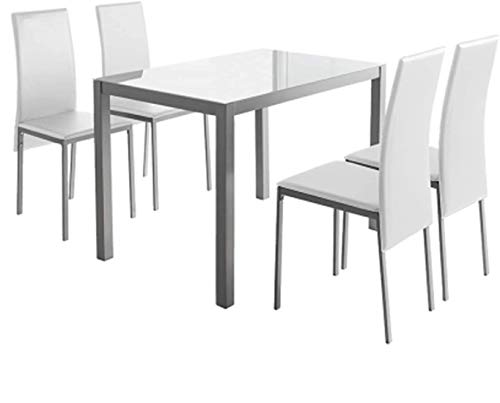 MOMMA HOME Conjunto de Mesa y Sillas Melbourne - con 4 Sillas - Mesa Fija - con Encimera de Cristal - para Salón y Cocina - Muy Elegante - Diseño Moderno Color Blanco