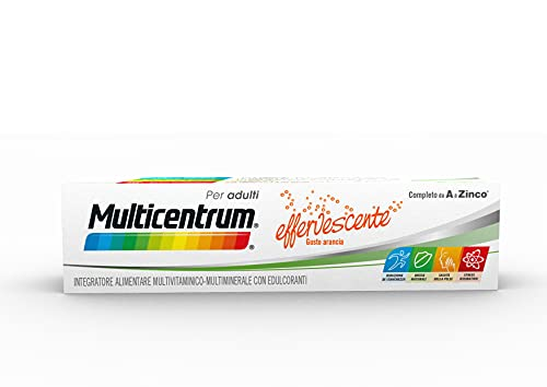 Multicentrum Adulti Effervescente Integratore Alimentare Multivitaminico e Multiminerale Completo, Vitamine A-Z, Senza Glutine e Zuccheri, 20 compresse