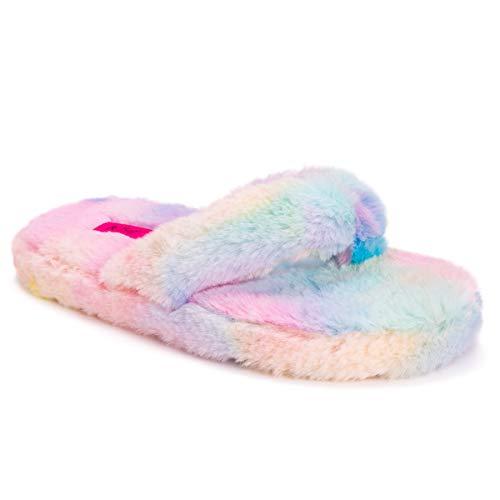 Betsey Johnson Women's Slip On Slipper, Rainbow, Large