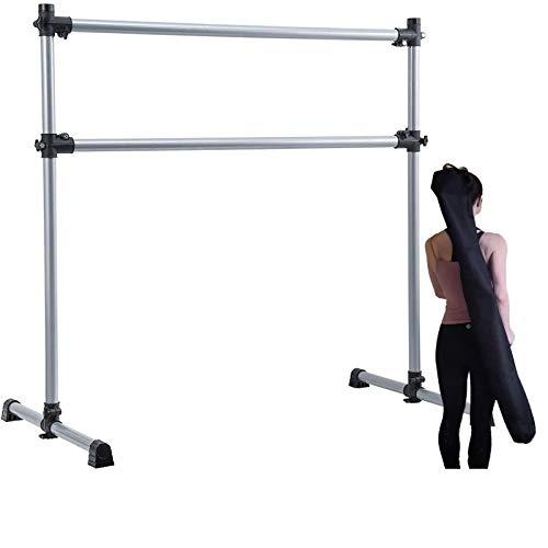UMEKEN Ballet Barre Bar Portable 4 Ft Adjustable Freestanding Dance Bar for Home, Kids Fitness Stretching Exercise Double Bar with Carry Bag (Silver, 4 FT)