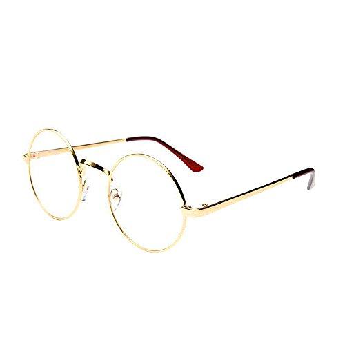 WooCo Retro runde Brille für Damen Herren, Heißer Verspiegelte Flachlinse Fashion Classic Unisex Metallrahmen Schwarz, Silber, Grün, Gold, Kaffee(Gold,One Size)
