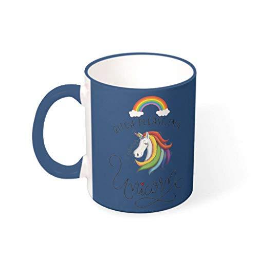 Knowikonwn Bitch Please Rainbow Unicorn taza de té con mango de cerámica brillante tazas – divertido sarcasmo mujeres regalos, (11 onza), azul medianoche 330 ml