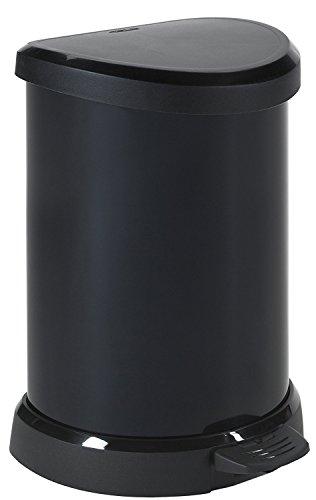 CURVER | Poubelle à pédale 20L Aspect métal, Métal Noir, Metal Bins, 30,3x28,1x44,8 cm