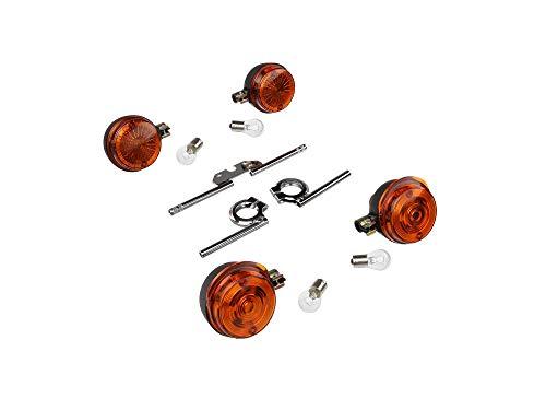 Growbox : 4 Clignotant ronde Kit complet, + 12 V lampes et clignotant – Chrome – Pour SIMSON S50, S51, S70