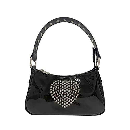 Cslada Vintage Harajuku Pu Leather Baguette Bag Kawaii Cute Sweet Rhinestone Heart Handbag Mini Axillary Pouch Y2k Punk Black Rivet Axila Bolsa