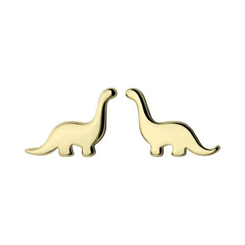 Richight シンプルな純銀製かわいい小さな恐竜スタッドピアス、sv925首の長い恐竜可愛らしいミニ動物ピアス、レディース/メンズアクセサリー 耳飾りイヤリング、夏のさわやか森ガールっぽいゴールドイヤリング