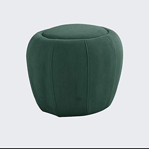 TIYKI Terciopelo Redondo Ottoman,Cómodo Suave Silla Vanity Stool,para El Hogar Salón Guarnición Habitación Dormitorio Oficina,Banco De Zapatos De Pasillo-Tinta Verde. 40x40x33cm(16x16x13inch)