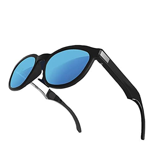 Sharplace Gafas de Sol de conducción ósea G4, Auriculares de conducción ósea Bluetooth Auriculares inalámbricos Manos Libres Auriculares Abiertos - Azul