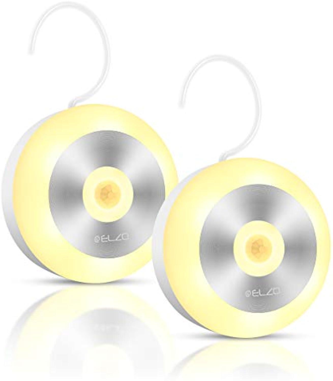 Elzo Nachtlicht Bewegungsmelder, Auto ON OFF, Wiederaufladbare kabellose LED Lampe mit integriertem Haken und Magnetsatz Schrankbeleuchtung für Kinderzimmer, Schlafzimmer, Küche, Warmes weies