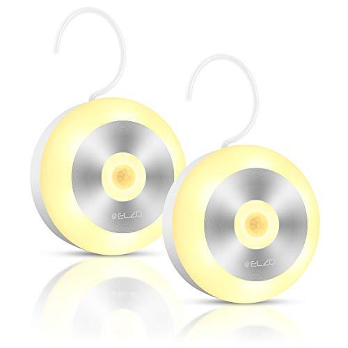 Elzo Nachtlicht Bewegungsmelder, Auto ON/OFF, Wiederaufladbare kabellose LED Lampe mit integriertem Haken und Magnetsatz Schrankbeleuchtung für Kinderzimmer, Schlafzimmer, Küche, Warmes weißes
