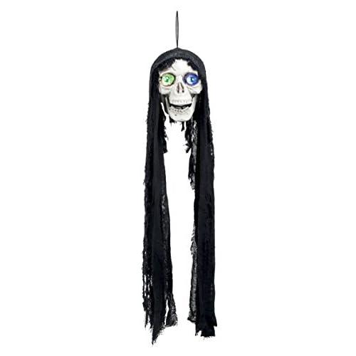 Boland- Decorazione Teschio Flashing Skull con Luci e Suono, Nero/Bianco, 73005