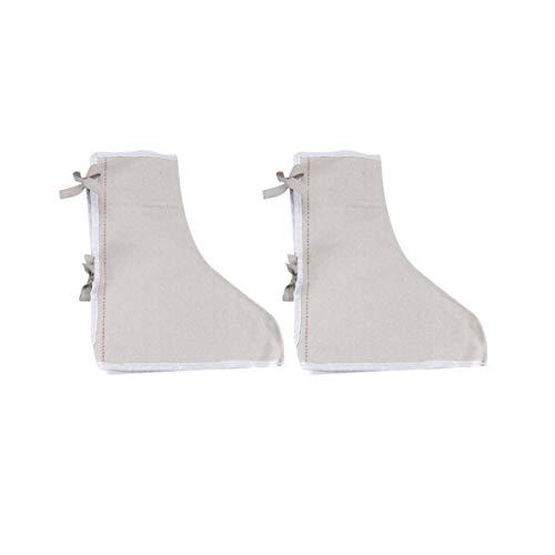 sourcing map 1Paar Baumwolle Segeltuch Gamaschen Schuhschutz Weiß für Schweißprozess Schutz