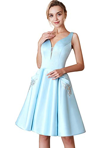 HONGFUYU V-Neck Homecoming Dresses Satin with Beaded Pockets Short Cocktail Prom Dresses HFY216-Ice Blue-US10 (Apparel)
