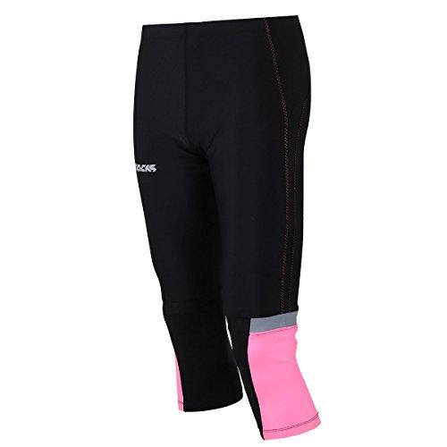 Airtracks - Pantalones de running para mujer (3/4 de largo), transpirables, reflectores, color negro y rosa, primavera/verano, Mallas de running 3/4 para mujer, Mujer, color rosa, tamaño large