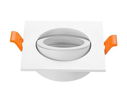 Paquete de 2 focos cuadrados para marco de lámpara, soporte ajustable 65 mm, MR16 GU10, color blanco