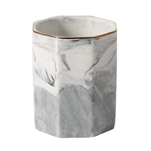 1 Pc Marbre Motif En Céramique Coupe Porte-Stylo Porte-Cosmétique Brosses Conteneur De Stockage (Gris Avec La Jante En Or)