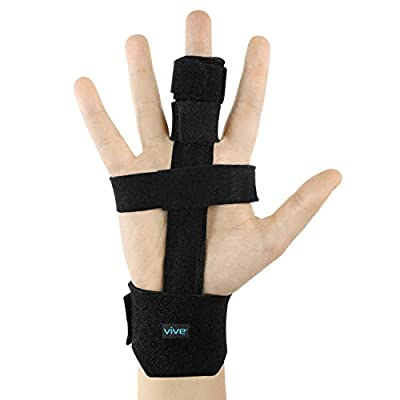 Vive Trigger Finger Splint - Full Hand and Wrist Brace Support - Adjustable Locking Straightener - Straightening Immobilizer Treatment For Sprains, Pain Relief, Mallet Injury, Arthritis, Tendonitis