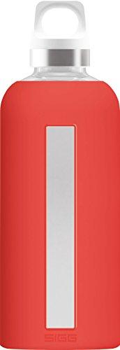 Sigg Star Scarlet Botella cantimplora (0.5 L), Botella hermética sin sustancias nocivas, Botella de Vidrio con Funda de Silicona Resistente al Calor