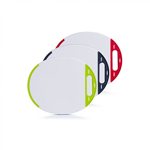 Vesperteller 3 Stück oval, Kunststoff weiß/bunt, 27x23cm, Schneidebrett, Fleischteller, Zeller