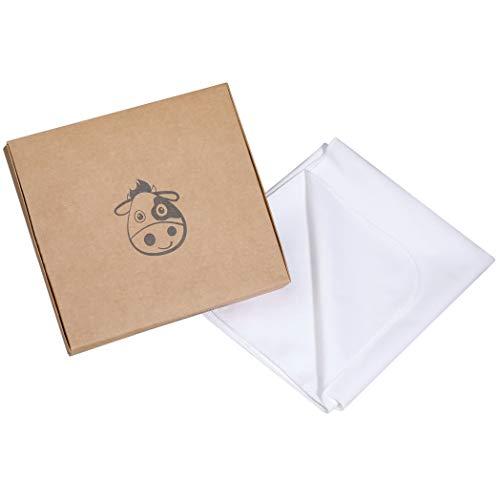 Wasserdichter Matratzenschoner/Mehrweg Wickelunterlage aus Bio-Baumwolle für Babys und Kleinkinder - OEKO-TEX 100 zertifiziert, Matratzenauflage Matratzenschonbezug - weiß