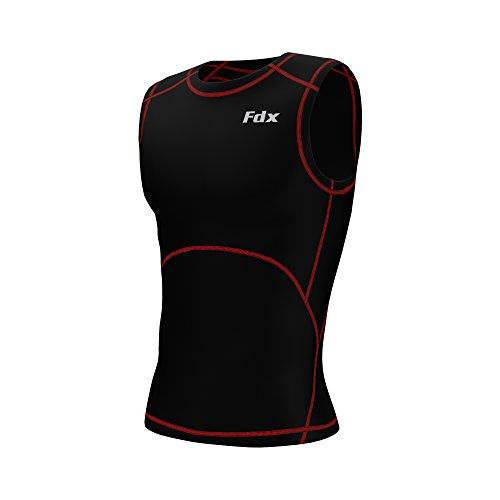 FDX - Maglietta sportiva da uomo, a compressione, senza maniche, da corsa, taglia XL, colore: nero/rosso