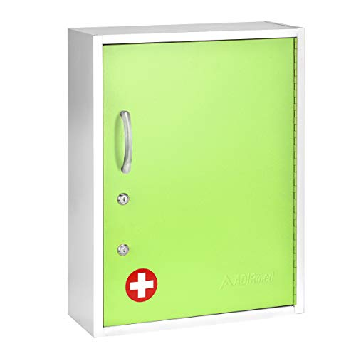 AdirMed Medicine Cabinet with Pull-Out Shelf & Document Pocket - Large Dual Lock Wall Mounted Steel Medical Organizer - Safe and Secure Storage for Medicine First Aid and Emergency Kit (Green)